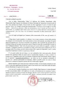 Lettera del Vicario Generale